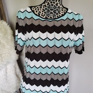 Etcetera Dresses - Etcetera  Zig Zig Knit Shift Dress Size M